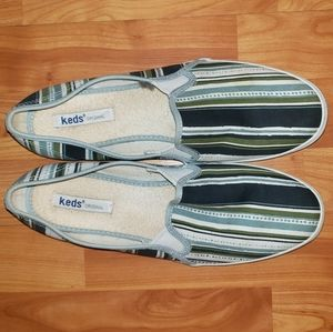 Keds Slip-on Blue and Green Stripped Sneakers 9.5